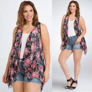Torrid Floral Chiffon Lace Back Vest Womens 1X